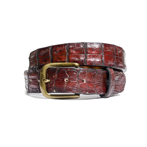 ALLIGATOR HORNBACK BELT - DEEP COGNAC - MATTE - ONE PIECE - 38mm