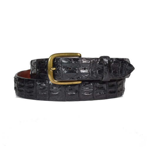 ALLIGATOR HORNBACK BELT - BLACK - MATTE - ONE PIECE - 38mm