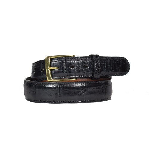 ALLIGATOR SKIN DRESS BELT - BLACK - MATTE - 1 1/4 inch