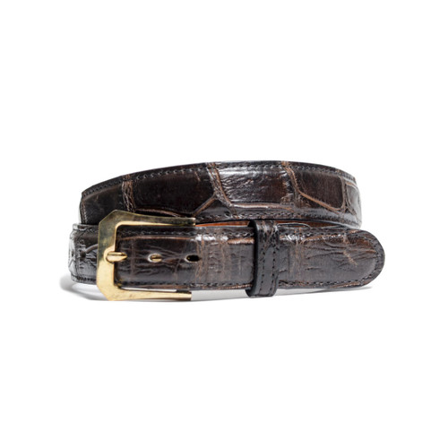 ALLIGATOR SKIN DRESS BELT - CHOCOLATE - MATTE - 1 1/4 inch