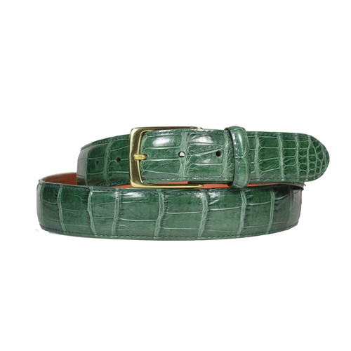 ALLIGATOR SKIN DRESS BELT - GREEN - MATTE - 1 1/4 inch