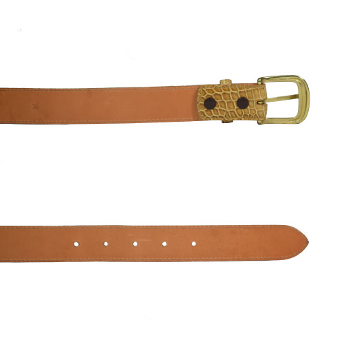 ALLIGATOR SKIN DRESS BELT - TAN - MATTE - 1 1/4 inch