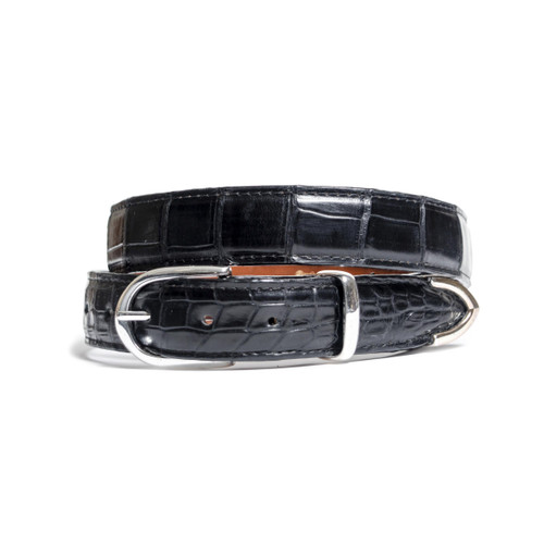ALLIGATOR SKIN DRESS BELT - BLACK - MATTE - 1 inch