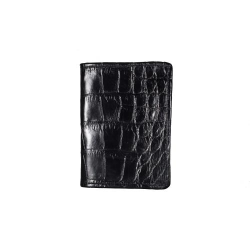 WALLET - Front pocket - ALLIGATOR SKIN - BLACK
