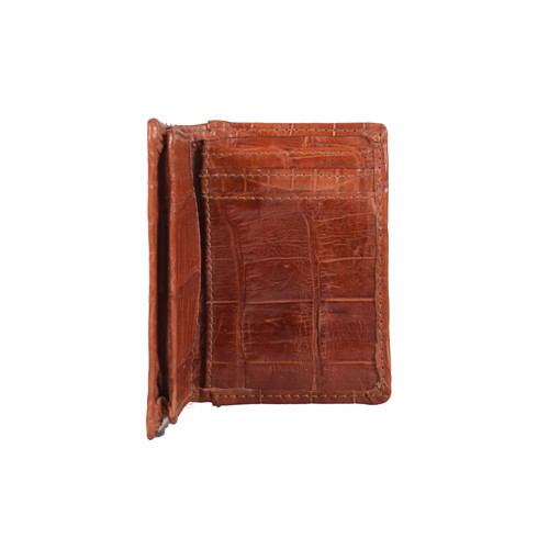 WALLET - Front pocket - ALLIGATOR SKIN - Cognac