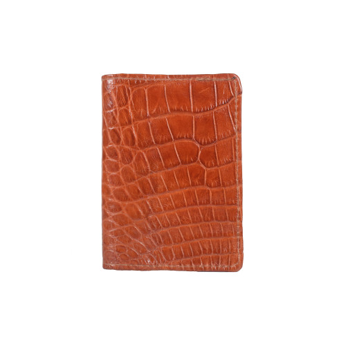 WALLET - Front pocket - ALLIGATOR SKIN - Cognac