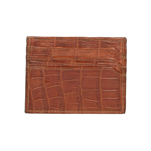 WALLET / CREDIT CARD HOLDER - ALLIGATOR SKIN - COGNAC