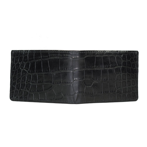 WALLET - ALLIGATOR SKIN - BLACK - BI-FOLD - PREMIUM QUALITY