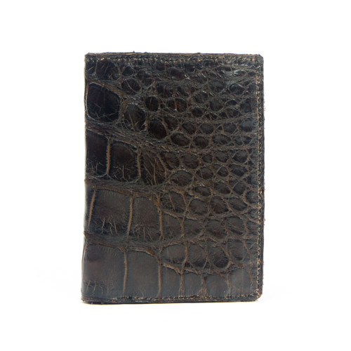 WALLET_TRIFOLD - ALLIGATOR SKIN - DARK CHOCOLATE - HANDMADE IN THE USA