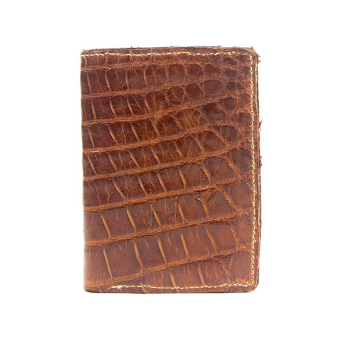 WALLET_TRIFOLD - ALLIGATOR SKIN - COGNAC - HANDMADE IN THE USA
