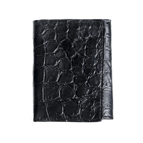 MILITARY STYLE WALLET - ALLIGATOR SKIN - BLACK - TRIFOLD - Large tiles