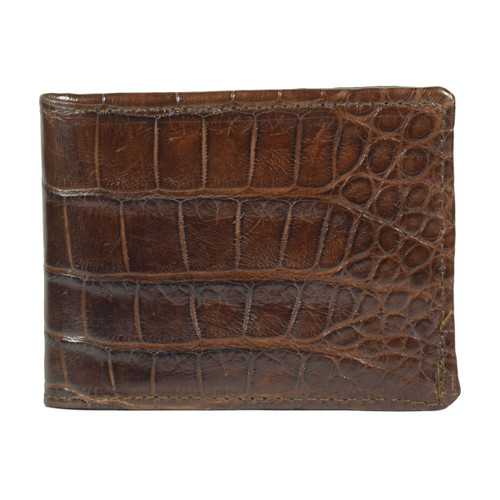 WALLET - ALLIGATOR SKIN - CHOCOLATE - BI-FOLD - Medium  tiles