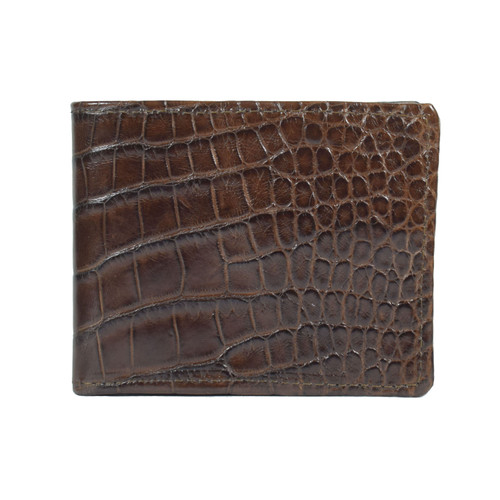 WALLET - ALLIGATOR SKIN - CHOCOLATE - BI-FOLD - Medium Large tiles