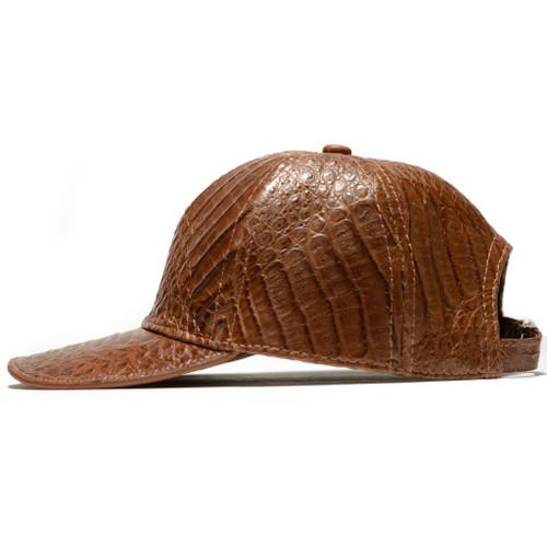 GENUINE ALLIGATOR SKIN CAP / HAT - COGNAC