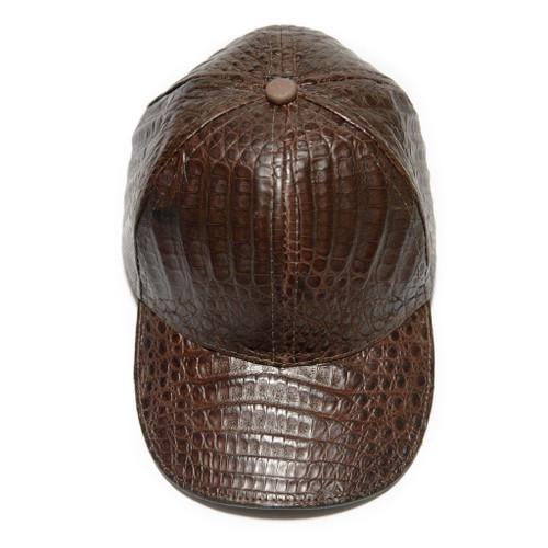 GENUINE ALLIGATOR SKIN CAP / HAT - BROWN