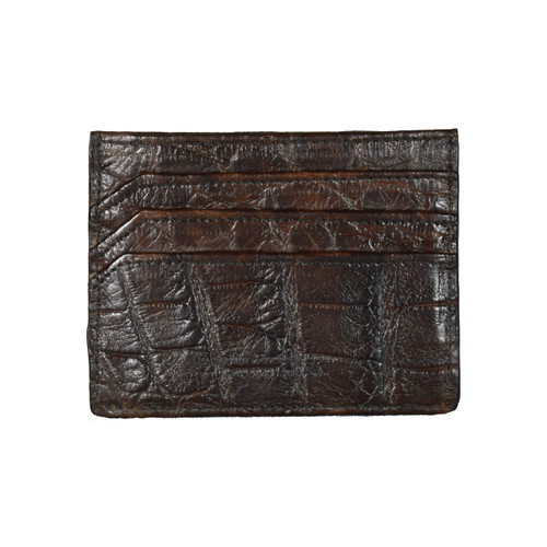 WALLET / CREDIT CARD HOLDER - CHOCOLATE - ALLIGATOR SKIN