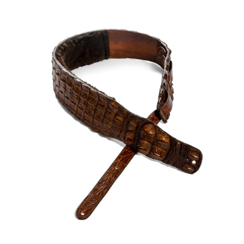 CUSTOM GUITAR STRAP - ALLIGATOR HORNBACK - DARK COGNAC - NO METAL - 3""