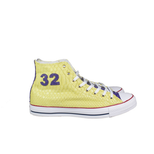 Custom Yellow Python High Top Chucks