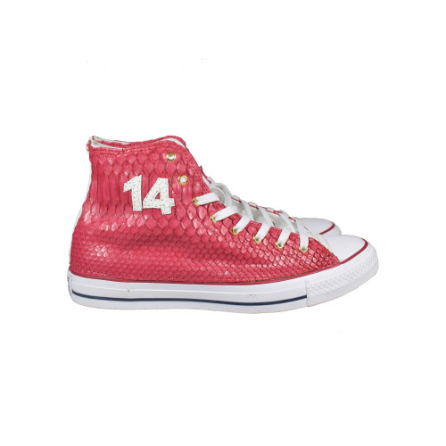 Custom Red Python High Top Chucks