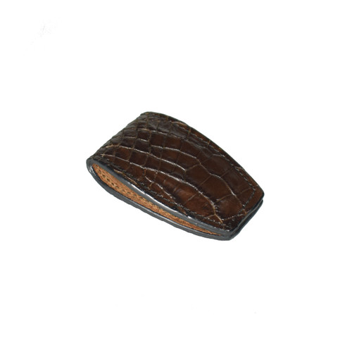 MONEY CLIP - CHOCOLATE - ALLIGATOR SKIN