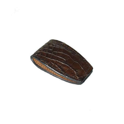 MONEY CLIP - CHOCOLATE - ALLIGATOR SKIN