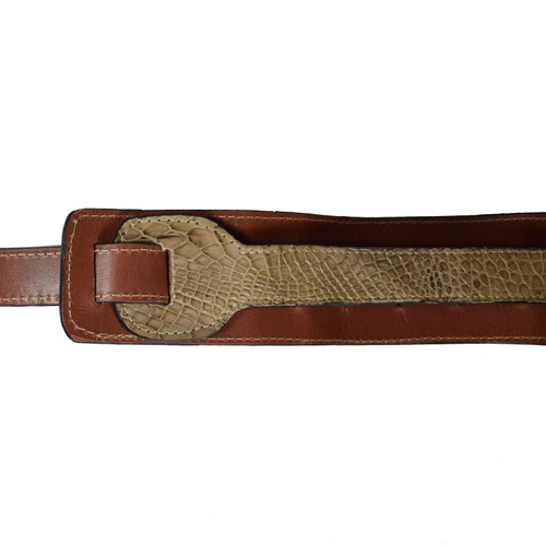 CUSTOM GUITAR STRAP - ALLIGATOR BELLY SKIN - MINK - NO METAL - 3.25""