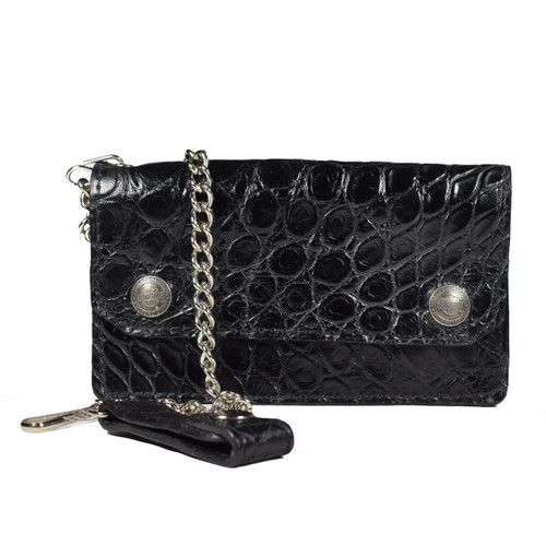 Black Alligator Biker Wallet