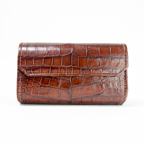 WOMEN'S CROSS BODY HANDBAG - ALLIGATOR SKIN - Cognac - Genie bag