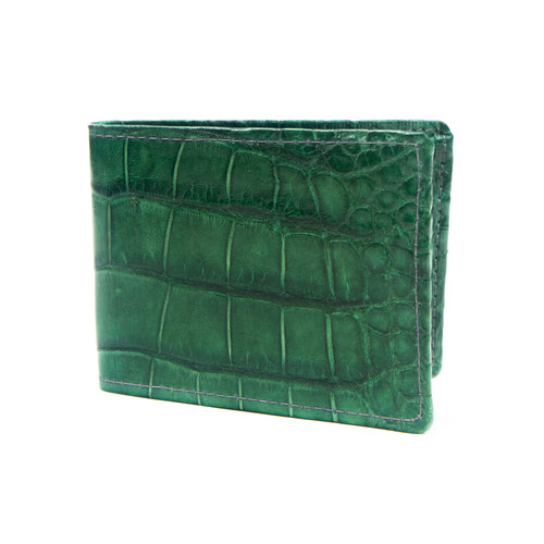 WALLET - ALLIGATOR SKIN - Hulk Green - BI-FOLD - Premium Quality