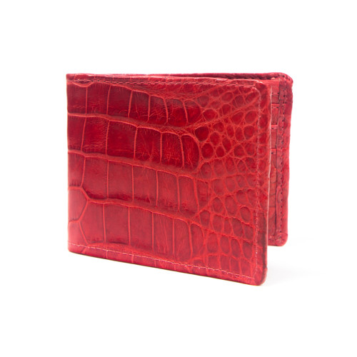 WALLET - ALLIGATOR SKIN - Cherry RED - BI-FOLD - Premium Quality