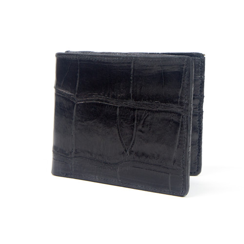 WALLET - ALLIGATOR SKIN - BLACK - BI-FOLD - Eel Inside