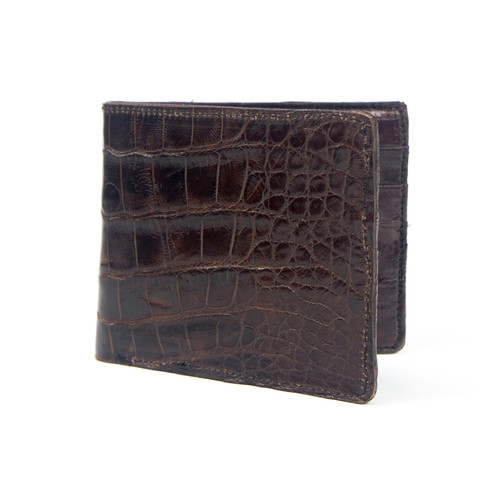 WALLET - ALLIGATOR SKIN - BROWN - BI-FOLD - Eel Inside
