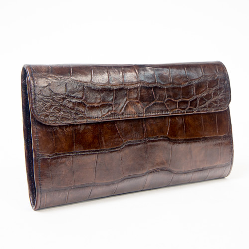 Brown Alligator Skin Long Clutch Wallet