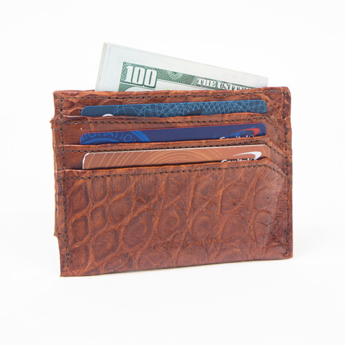 Money Clip & CREDIT CARD HOLDER - ALLIGATOR SKIN - COGNAC
