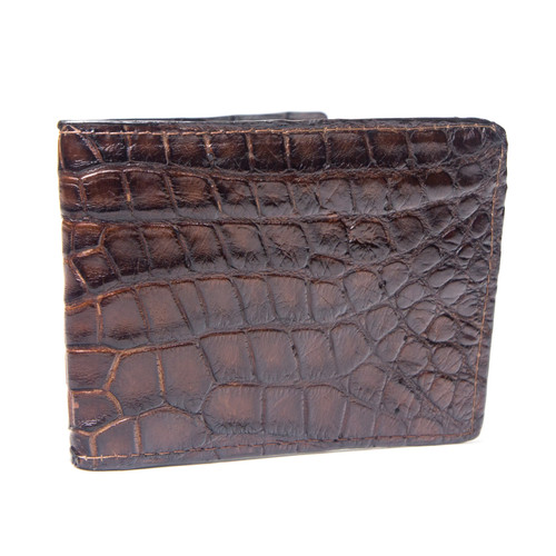 Brown Alligator Wallet With Bison Leather Interior