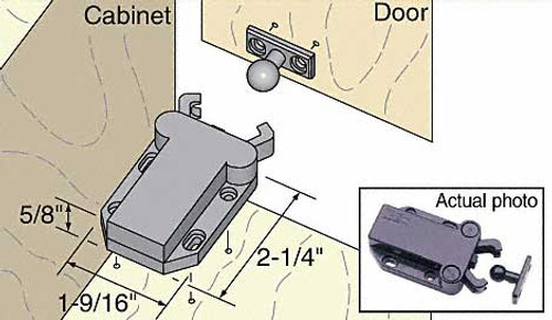 Seismic Resistant Cabinet Door Push Latch (4 latch minimum)