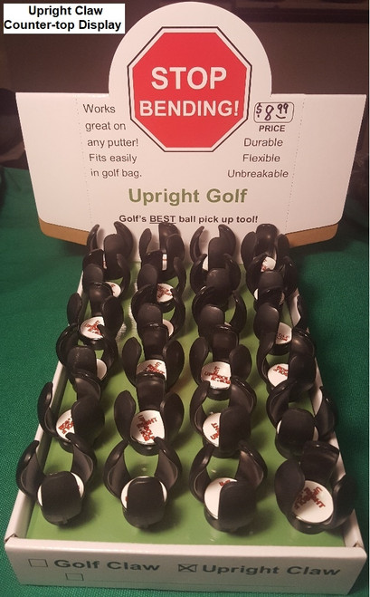 Upright Claw - Counter-top Display w/ 25-pk   NOTE: This durable golf ball retriever / attachment tool is not one of those old-style suction cup ball pick up tools.