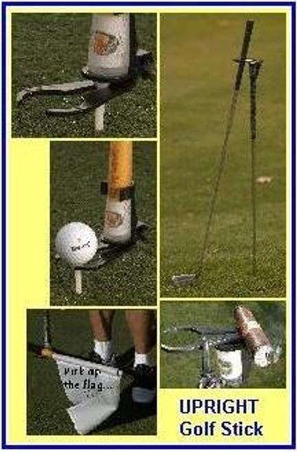 Upright Golf Stick - Golf Ball Teeing Device + Free Golf Claw pick up tool