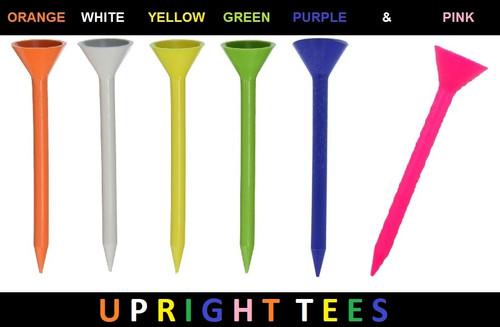 "Upright Tees - (Orange - 10 pk.) 3-1/4""  (Martini Tee knock-offs) Plastic Golf Tees w Over-sized Head"
