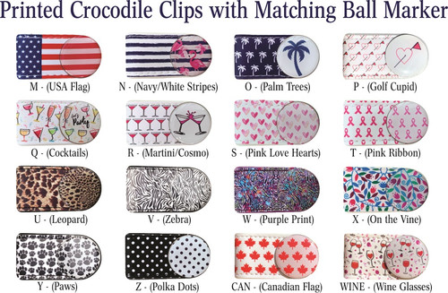 Printed 'Crocodile Clips' w/ matching Golf Ball Marker