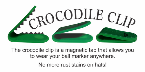 Golf Ball Marker Magnetic 'Crocodile Clip' - Solid or Sparkle Colors - w/ Logo Golf Ball Marker & Marker Mags