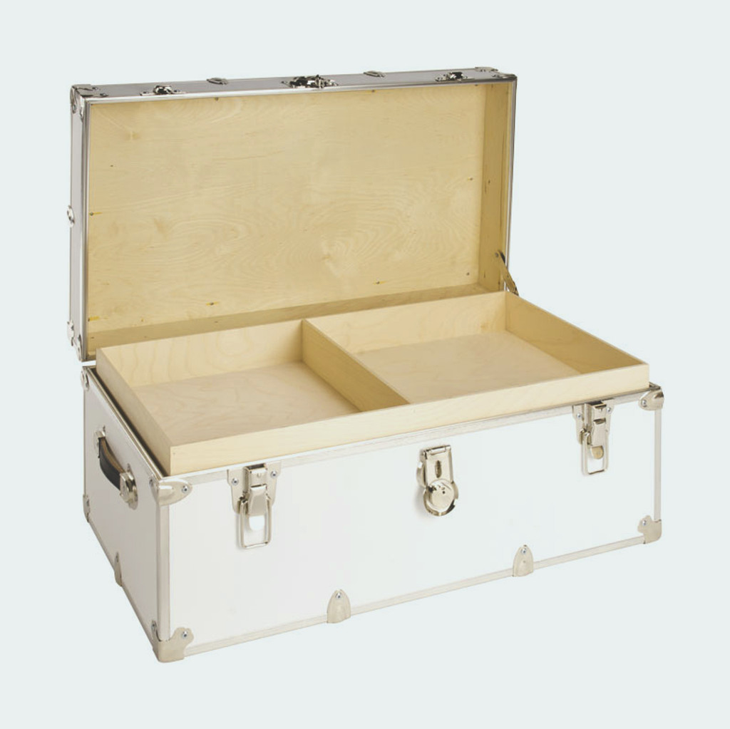 "Jumbo Sticker Trunk - 40"" x 22"" x 20"" - Installed Hardwood Tray"