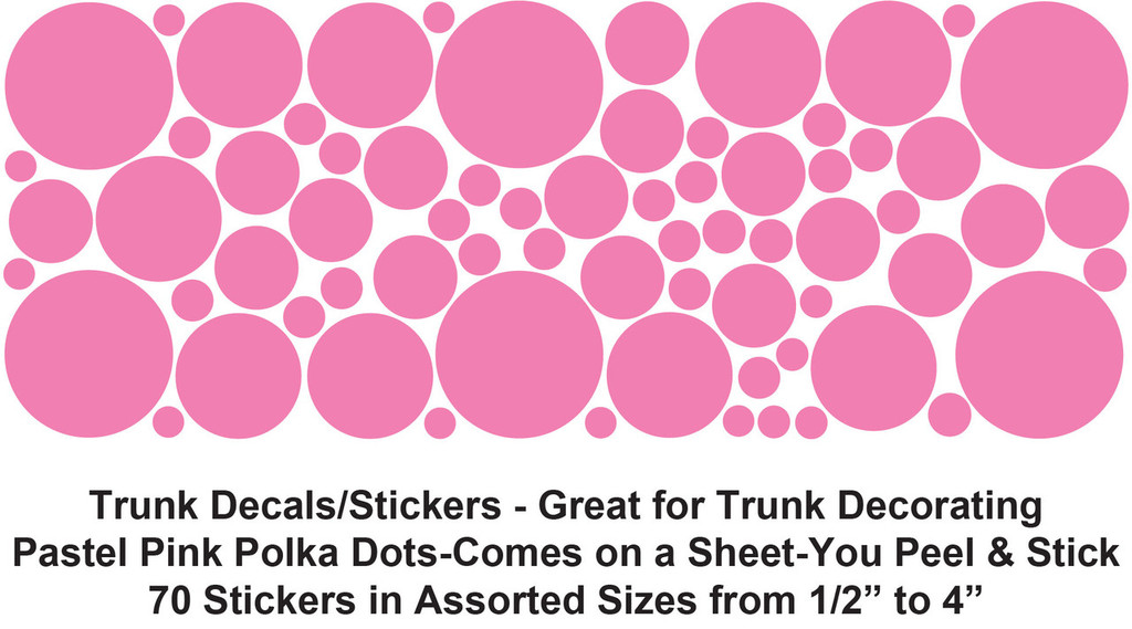 "Jumbo Sticker Trunk - 40"" x 22"" x 20"" - Pastel Pink Polka Dot Stickers"