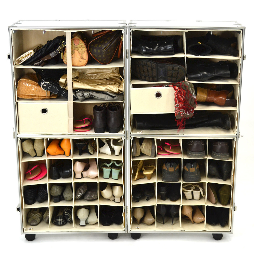 Rhino Urban Wardrobe inserts. Three shelf insert (top left), four shelf insert (top right), shoe inserts (bottom)