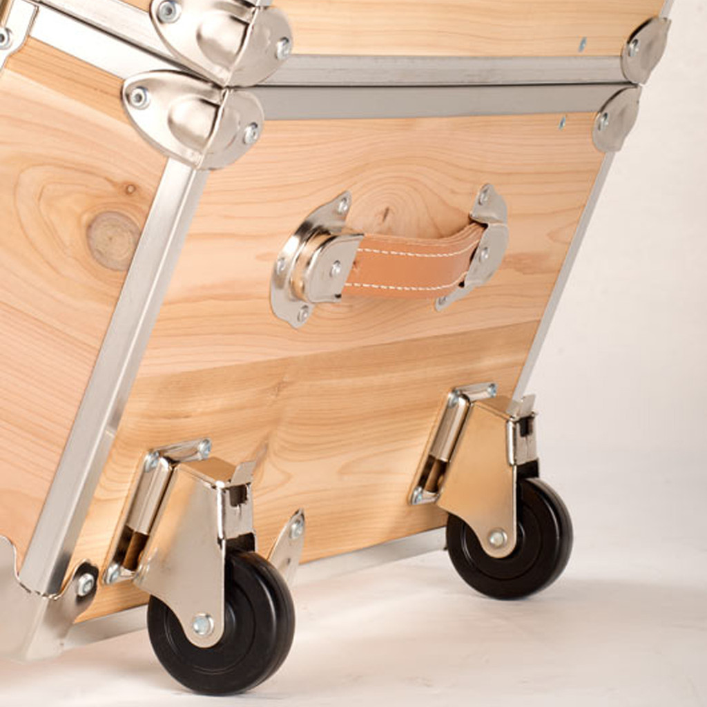 Rhino Jumbo Cedar Storage Trunk removable wheels angle two.