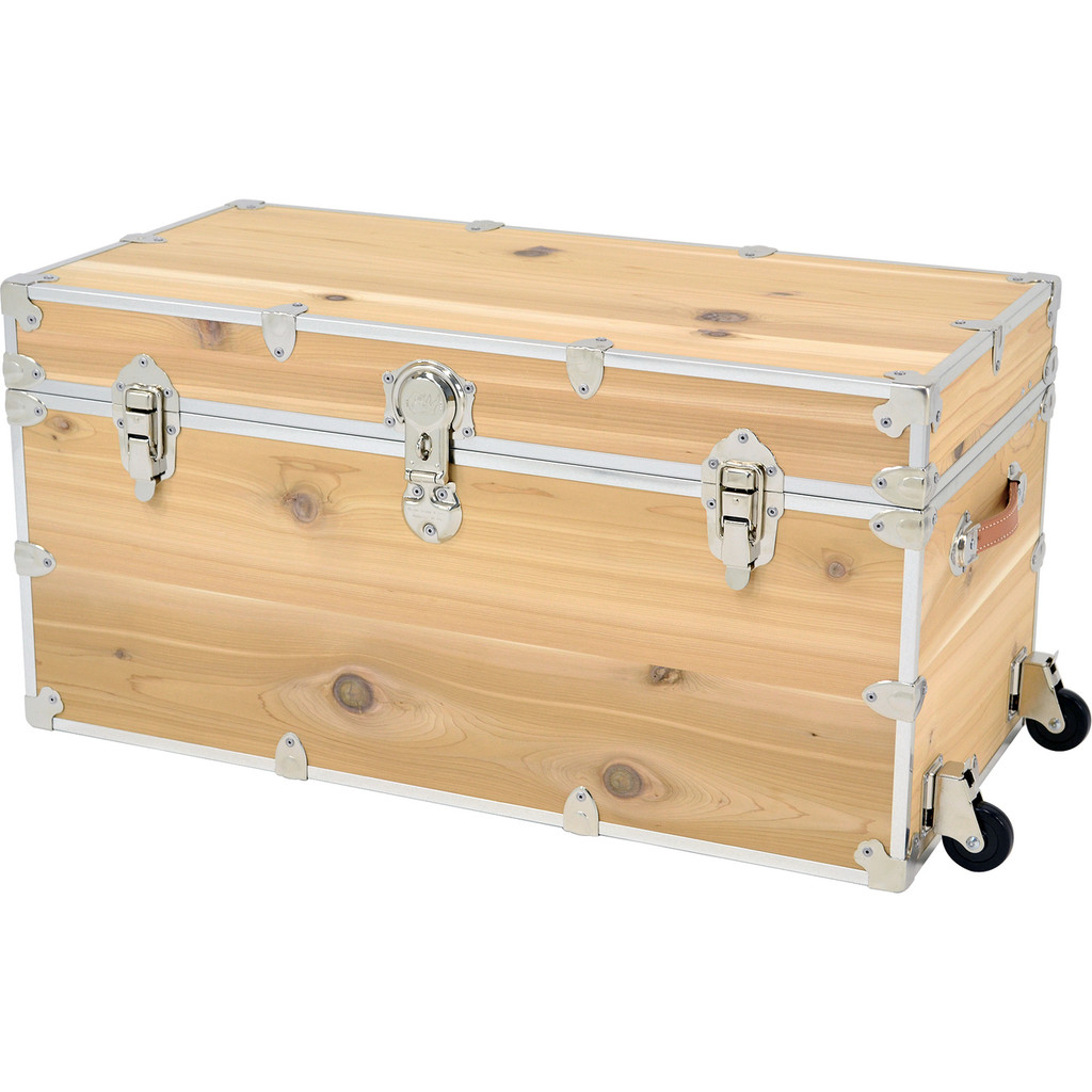 Rhino XXL Cedar Storage Trunk with removable wheels attached.