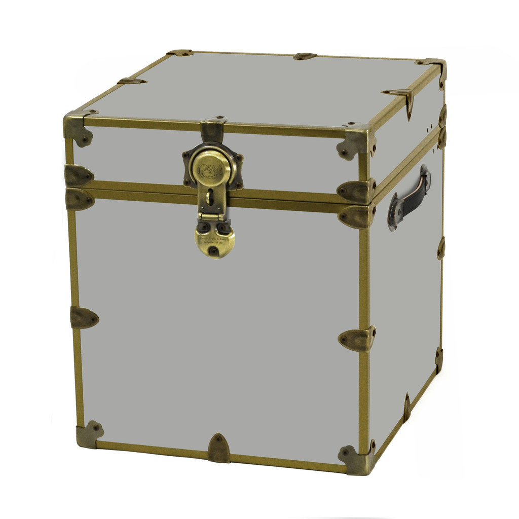 "Rhino Cube Sticker Trunk with Brass Hardware - 18"" x 18"" x 20"""