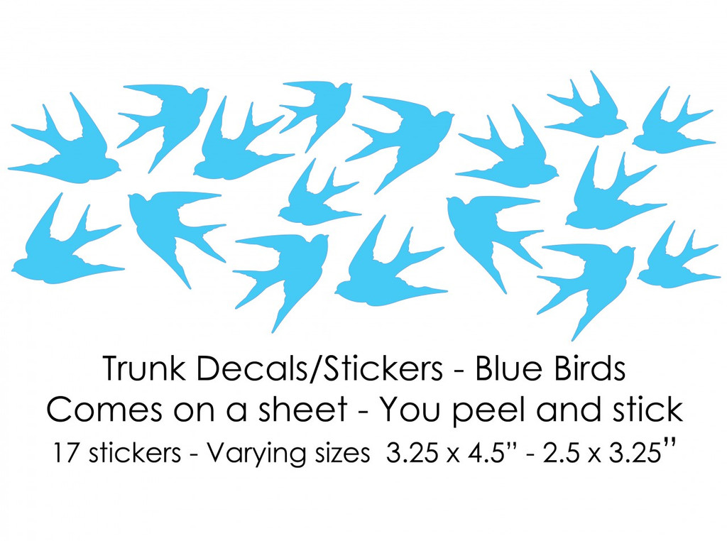 Blue Birds Trunk Decals/Stickers