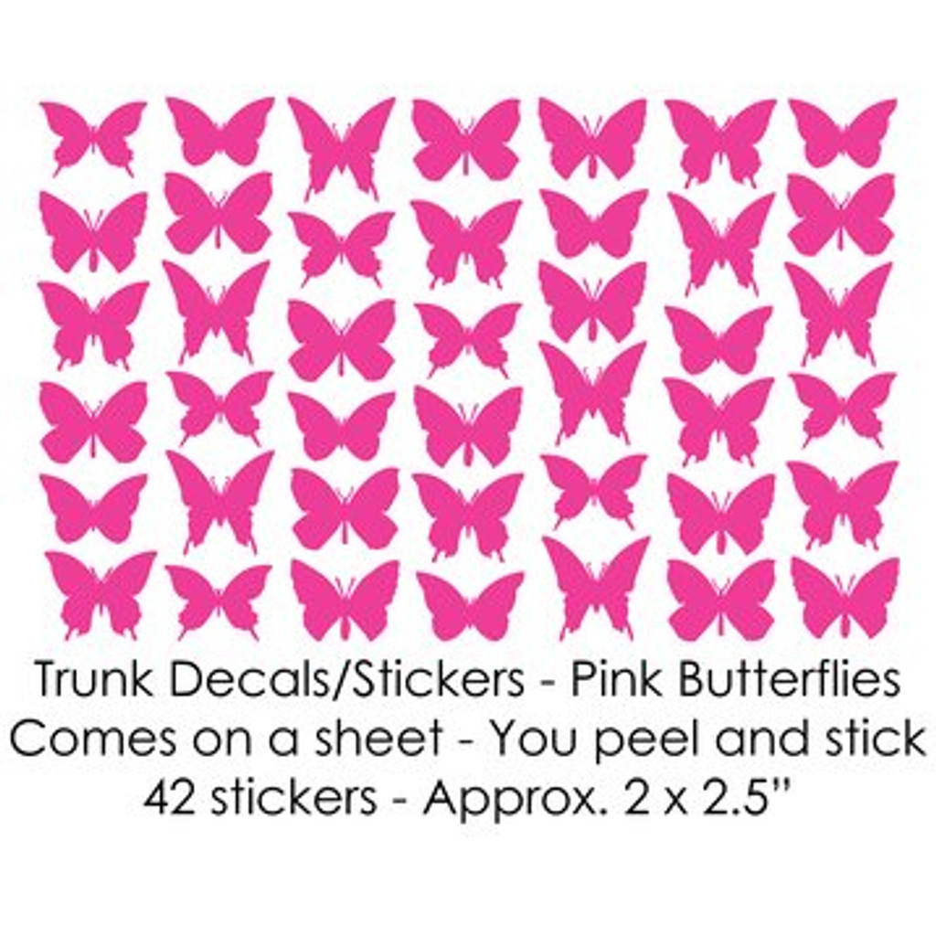 Pink Butterflies Trunk Decals/Stickers