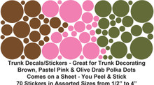 "Jumbo Sticker Trunk - 40"" x 22"" x 20"" - Brown, Pastel Pink & Olive Polka Dot Stickers"